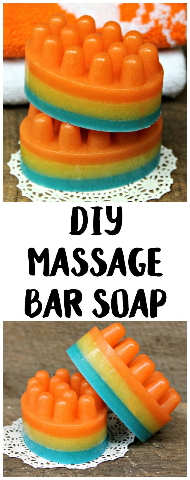 You can make your own massage bars with this easy DIY soap recipe! All you need are a few supplies like essential oils and glycerin, the perfect cute mold, and these melt and pour directions and you can have pretty massage bars for your next bath. This craft is great for beginners and makes a great holiday gift too!