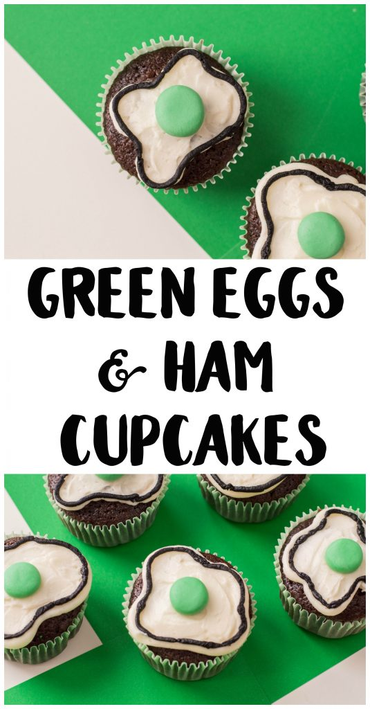 It's Reading Week at my son's school and nothing connects kids to books more than food! These easy Green Eggs and Ham Cupcakes are inspired by the classic children's book by Dr. Seuss and taste a lot better than the real thing. They're made with chocolate cupcakes and take just a few quick steps to make the decoration! If you need fun food ideas for your Read Across America themed storytimes, don't miss these cupcakes!