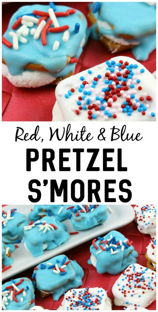 Looking for food and decoration ideas for your 4th of July Party or Backyard BBQ? These Patriotic Pretzel S'mores do double duty as a tasty dessert that looks pretty enough to be a decoration. The best part? It's a super easy recipe and they only take a few minutes to make!