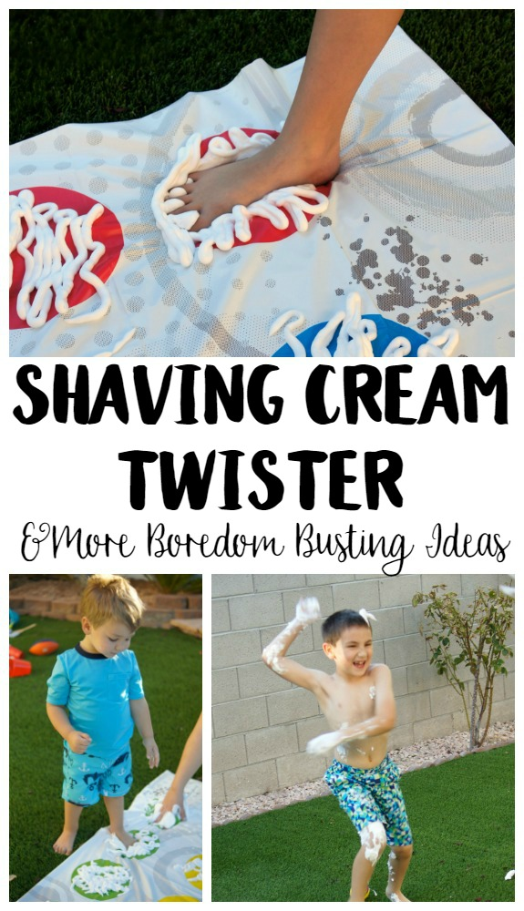 Need summer boredom buster ideas? Play Shaving Cream Twister! This DIY Backyard Game is easy to set up and brings so many giggles!