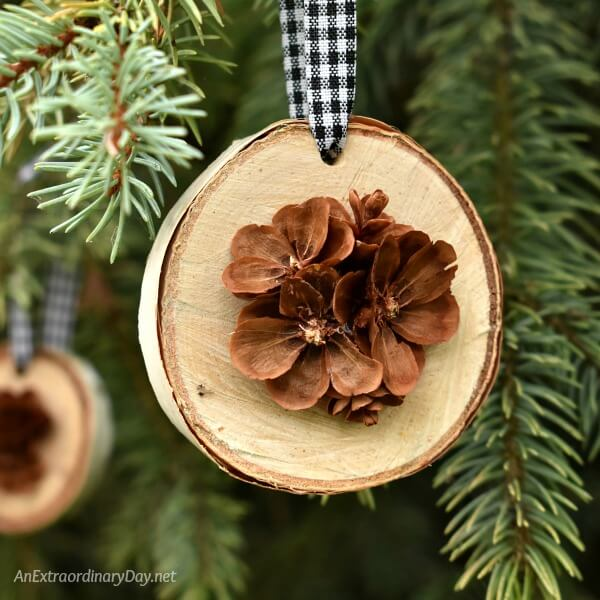 Birch And Pine Cone Christmas Ornaments