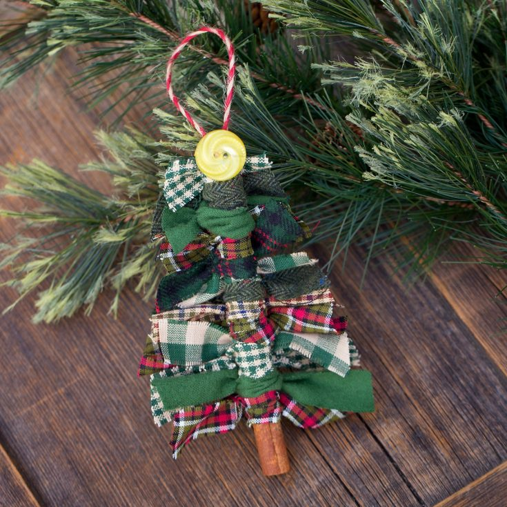 Primitive Scrap Fabric Tree Ornaments