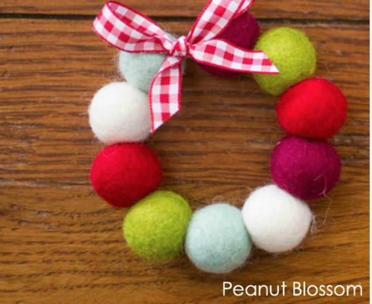 Felt Balls Wreath Ornaments