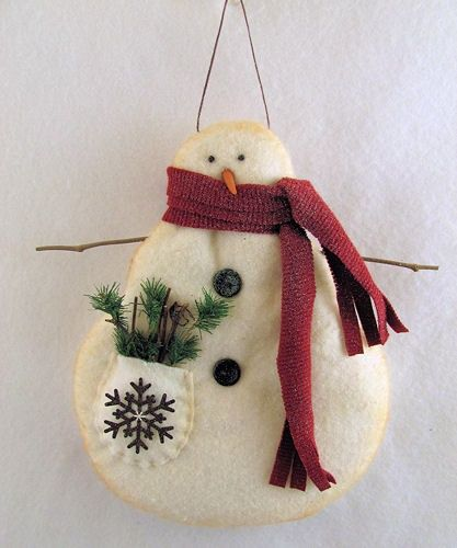 Primitive Snowmen Ornaments
