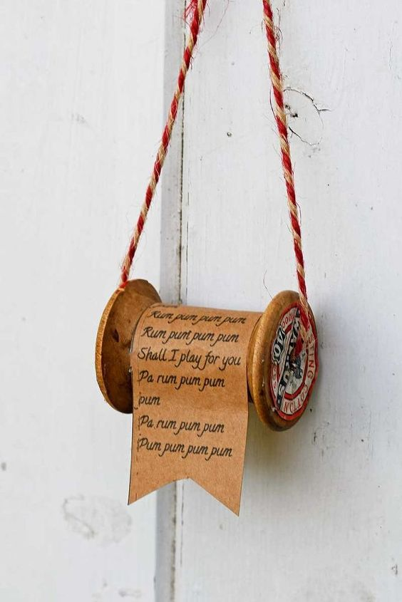 Wooden Spool and Christmas Song Ornaments