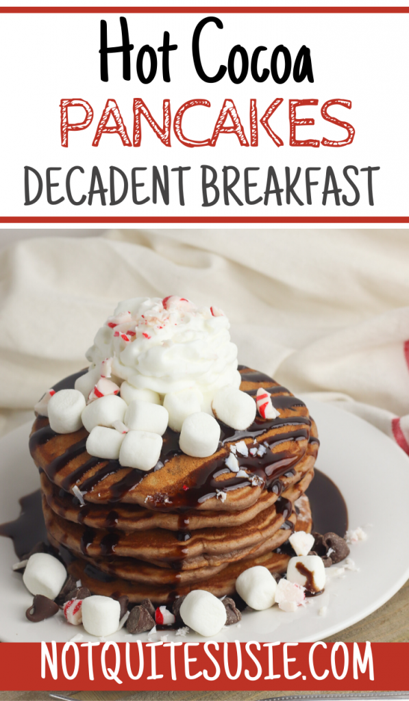 Looking for a delicious easy homemade pancake recipe for a special occasion like Christmas? These fluffy hot cocoa pancakes are made from scratch and garnished with peppermint for kids to enjoy the holidays!