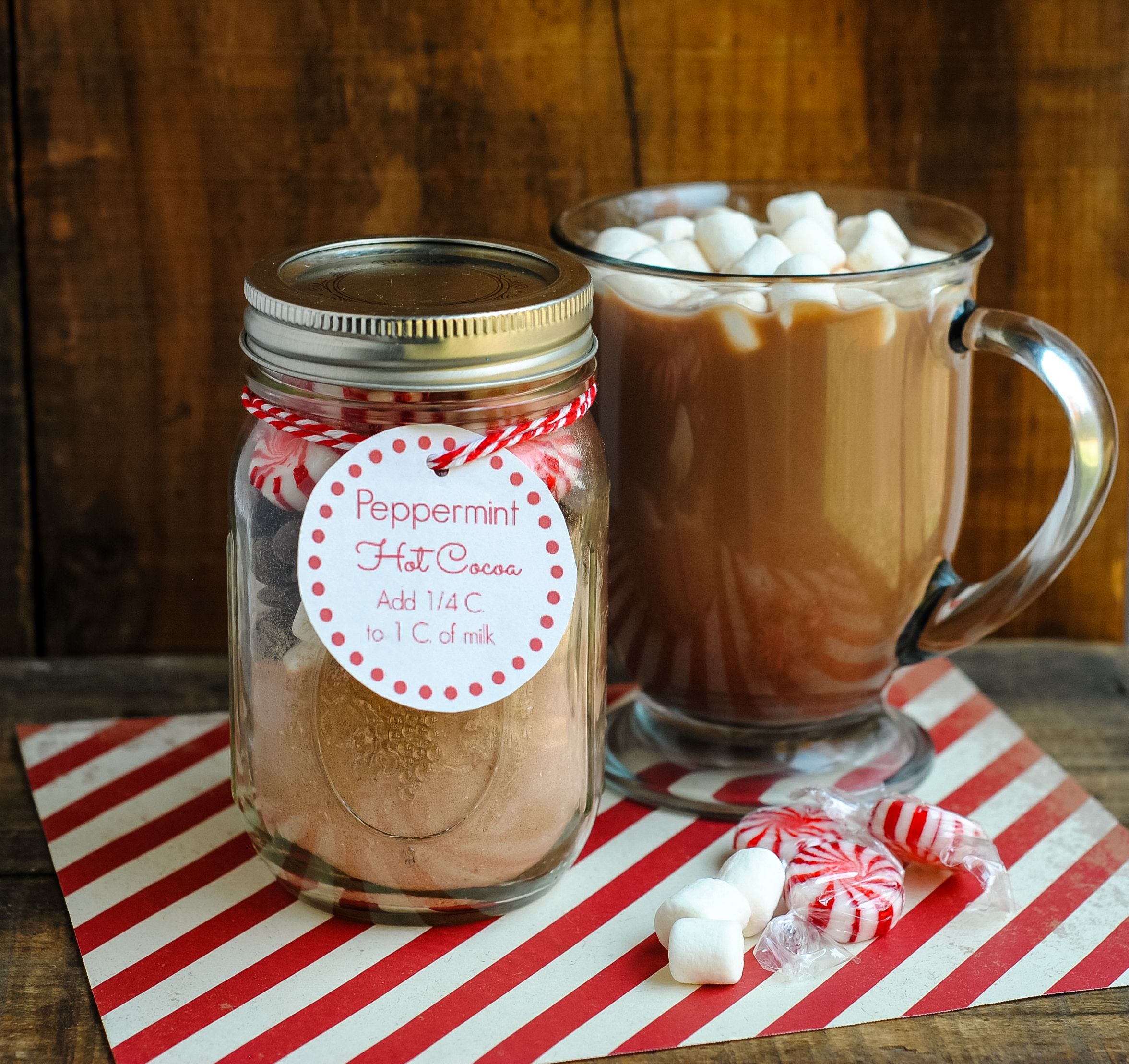 Easy Homemade Gift Idea Peppermint Hot Cocoa In A Jar Not Quite Susie Homemaker