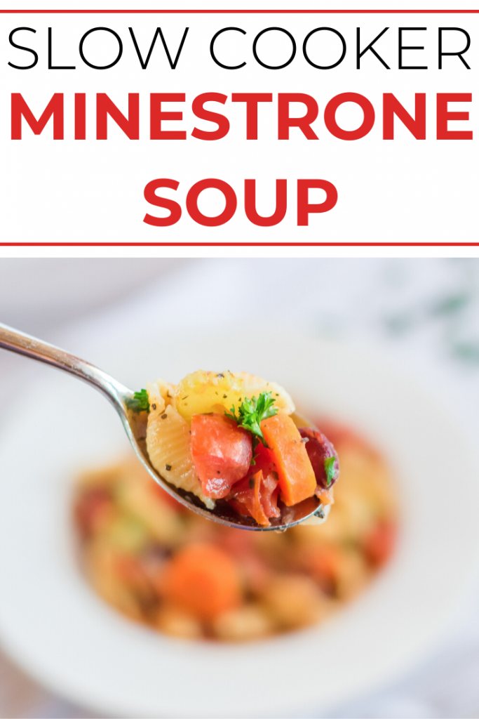 Need a new delicious, healthy vegetarian soup recipe? This Slow Cooker Minestrone Soup is so easy to make in your Crock Pot! It's full of beans and vegetables for a healthy dinner and it makes enough to serve the whole family- with leftovers!