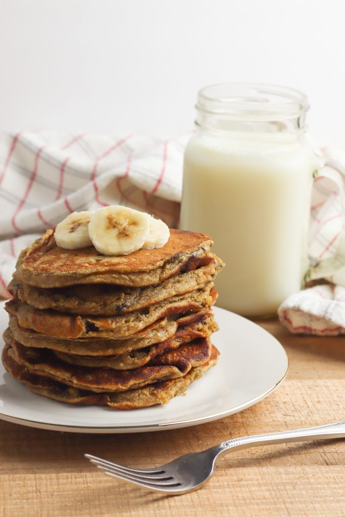Who doesn't love homemade pancakes from scratch on a weekend morning? These Peanut Butter Banana Oat Pancakes are fluffy and delicious- and aside from the chocolate chips, they're even healthy! This recipe is easy enough for kids to help with too.