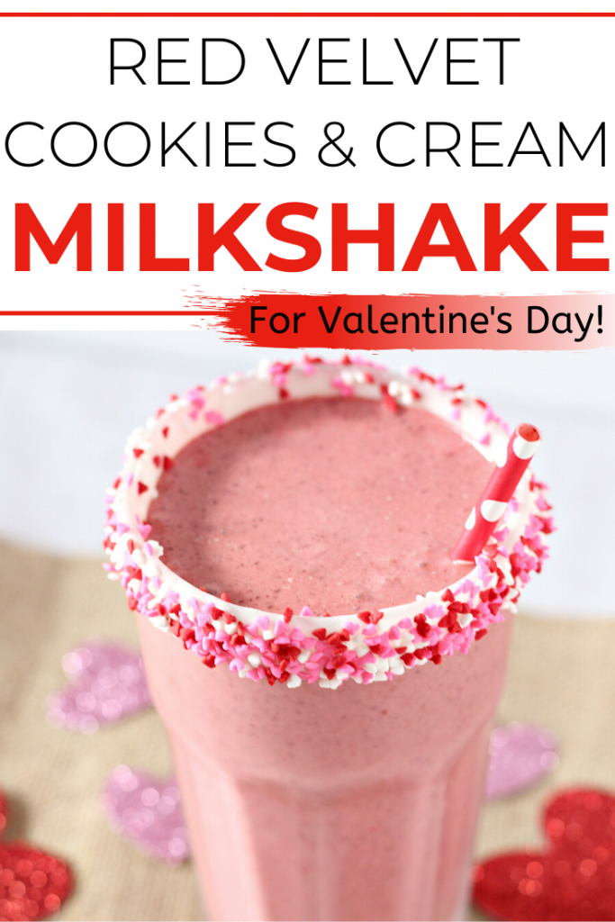 Valentine's Day is great- especially because of all the food and treats! Need a Vday recipe idea? Try this easy homemade Red Velvet Cookies and Cream Milkshake! Make it with regular Chocolate Oreos or Red Velvet Cake flavored ones- either way it's delicious and great for kids or for your date!